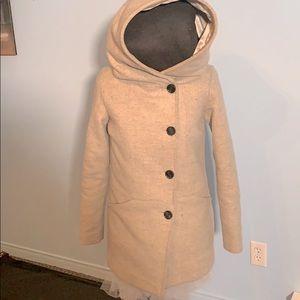 TWIK light grey winter hooded pea coat